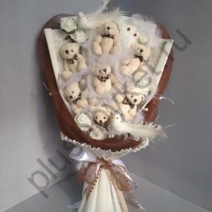 Букет на свадьбу БИ194 Милые мишки
