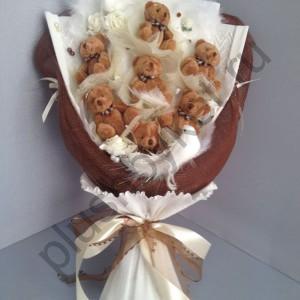 Букет на свадьбу БИ195 Бурые мишки