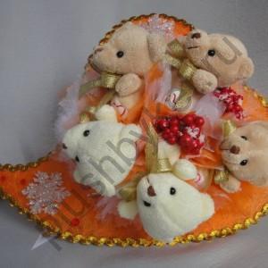 Букет из игрушек БИ165 Рождественские мишки