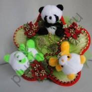 Букет из игрушек БИ161 Рождественские панды