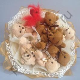 Букет из игрушек БИ170 Карамельные мишки