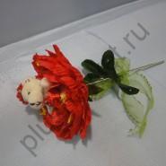 Пион с мишкой БИ269 красный