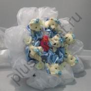 Букет из игрушек БИ310 мишки в голубом